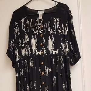 Black with White Stick Figure Drawing Maxi Dress L